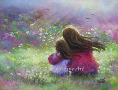 Mother and  Daughter Art Print loving mother brunette daughter, paintings, girls room, wall art, Vickie Wade art