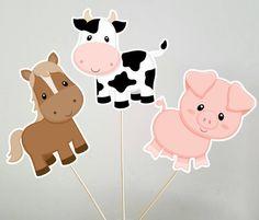 Farm Animal Centerpieces, Cow Centerpiece, Horse Centerpiece, Pig Centerpices by… Farm Animal Cupcakes, Farm Animal Party, Farm Party, Pig Cupcakes, Pig Party, Birthday Cupcakes, Cow Birthday, Farm Animal Birthday, Tractor Birthday