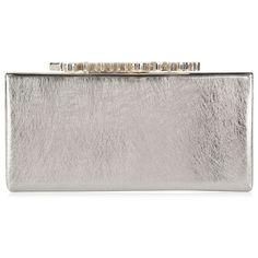 Jimmy Choo Celeste Clutch Bag (€1.050) ❤ liked on Polyvore featuring bags, handbags, clutches, bolsas, vintage silver, evening purses, vintage leather handbags, vintage handbags, leather handbags and real leather purses