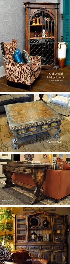 Hacienda Style Furniture in transitional settings .. love the mix of styles. ~Accents of Salado