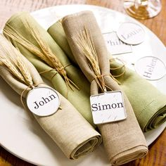 These Pendant Napkin rings double as place cards for your holiday guests. More place cards and napkin rings for a thanksgiving table: http://www.bhg.com/thanksgiving/indoor-decorating/easy-to-make-place-cards-for-a-thanksgiving-table/?socsrc=bhgpin103013napkinrings&page=12