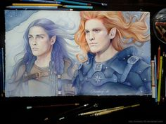 Maedhros and his cousin Fingon (Sketchbook1) by kimberly80.deviantart.com on @DeviantArt