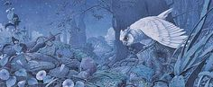 White owl go hunting a mouse by Bernhard Oberdieck (coloured pencil illustration)