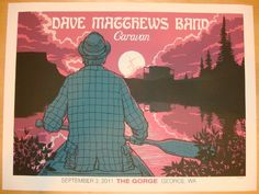 "Dave Matthews Band - silkscreen concert poster (click image for more detail) Artist: Methane Studios Venue: Gorge Amphitheatre Location: George, WA Concert Date: 9/3/2011 Size: 24"" x 18"" Edition: 1185"