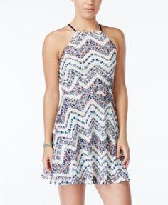 eaf71dca City Studios Juniors' Printed Lace Crisscross-Back Fit & Flare Dress Juniors  - Dresses - Macy's