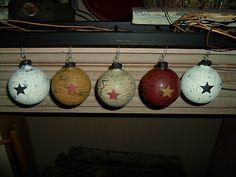Primitive Decor Christmas Tree Bulbs Crackled You Get 20   eBay