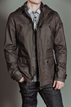 Civil Society Springstein: Men's PU Coated Twill Jacket with Hood Dark Grey