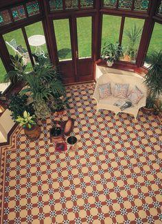 Olde Victorian Tiles - Torridon C. A timeless Torridon range of geometric design Victorian floor tiles. Victorian Conservatory, Victorian Tiles, Victorian Interiors, Victorian Decor, Vintage Interiors, Victorian Houses, Victorian Era, Four Season Sunroom, Tiles London