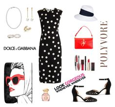 """Polka Dots"" by rboowybe ❤ liked on Polyvore featuring J.W. Anderson, Mikimoto, Kenneth Jay Lane, L'Oréal Paris, Kevyn Aucoin, Forzieri, Eugenia Kim, Oliver Gal Artist Co., Dolce&Gabbana and Tory Burch"