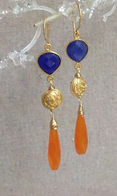 Orange Carnelian Cobalt Blue Chalcedony by MustardSeedTreasures, $68.00