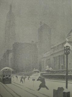 New York Snow Storm. Lithograph, c. 1940.  Doctor Ojiplático. Ellison Hoover. New York Litographs