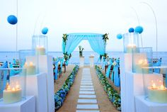 We love the beautiful color palette in this #blue beach #wedding!