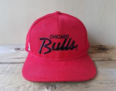 2a09d59263a Vintage 90s CHICAGO BULLS Sports Specialties  Single Line  Script Snapback  Hat Official NBA Wool Baseball Cap Basketball Ballcap