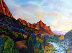 "Oil on canvas, ""The Watchman Zion Park,"" by Julie Brugh Riffey, Fine Art America."