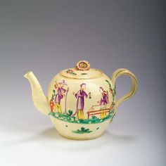 LEEDS CREAMWARE ENAMELLED CHINOISERIE TEAPOT AND COVER, CIRCA 1775.Asking £650 U.S.A. 2017