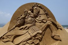 Sand sculpture of historical Chinese figure Guan Yu by Joo Heng Tan