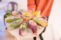 Press Event for the Gardeners where we served edible flower springrolls