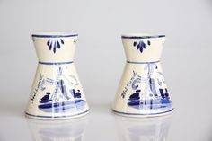 Delft blue windmill candle holders blue willow by hipposdream, €20.00