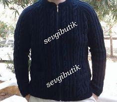 SEVGİ BUTİK: Burgulu ve Reglan Kollu Erkek Montu Sweater Hat, Knit Cardigan, Men's Coats And Jackets, Cool Suits, Mens Fashion, Knitting, Long Sleeve, Sleeves, Mens Tops