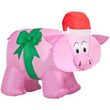 """PINK PIG INFLATABLE CHRISTMAS HAT GREEN BOW 31"""" TALL OUTDOOR YARD"""
