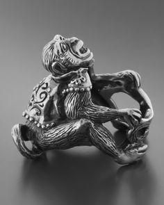Δαχτυλίδι ανδρικό χειροποίητο ασημένιο 925 Monkey Rings For Men, Statue, Jewelry, Art, Art Background, Men Rings, Jewlery, Jewerly, Schmuck