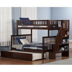 Atlantic Furniture Woodland Staircase Bunk Bed Full over Full with Urban Trundle Bed in Walnut (Color), Brown Bunk Beds With Drawers, Bunk Beds With Storage, Bunk Bed With Trundle, Full Bunk Beds, Bunk Beds With Stairs, Kids Bunk Beds, Bed Storage, Extra Storage, Storage Drawers