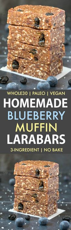 Homemade Blueberry Muffin Larabars Paleo, Vegan, Gluten Free) These homemade Larabars are cheaper than store-bought and take minutes to whip up! Made with just 3 Ingredients and approved! (vegan, whole dairy free, refined sugar free) paleo diet whole 30 Paleo Vegan, Vegan Snacks, Healthy Treats, Healthy Eating, Vegetarian, Paleo Diet, Clean Eating, 30 Diet, Vegan Sugar