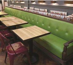 Float Buttoned Back Banquette with Oak Feature Arms, Jamies Italian - Cambridge (SS/BS/FL/01)