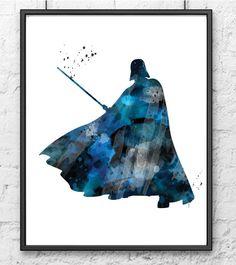 Darth Vader Watercolor Art Print Star Wars Poster by Colorfulwall