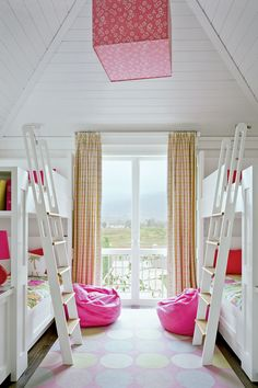 All white room with built in bunk beds and dressers with bright pink accents. Twin Girl Bedrooms, Shared Bedrooms, Girls Bedroom, Twin Girls, Bedroom Ideas, Bed Ideas, Beach Inspired Bedroom, Bedroom Beach, All White Room
