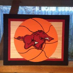"Razorback Basketball Painting, 15 X 12"", New, Signed"