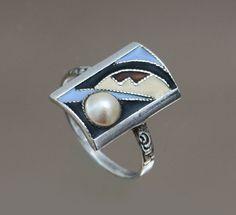 An Art Deco silver, matt enamel and pearl ring, Gustav Braendle -Theodor Fahrner, Germany circa 1932