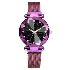 Luxury Starry Sky Stainless Steel Mesh Bracelet Watches For Women Crystal Analog Quartz Wristwatches Ladies Sports Dress Clock - 3268 Purple Mesh Bracelet, Bracelets, Bracelet Watch, Cool Watches, Watches For Men, Sky Watch, Design Minimalista, Popular Watches, Swiss Army Watches