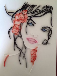 Portrait femme en quilling. Format A4   https://www.facebook.com/pages/Made-In-Paper/345440578871466