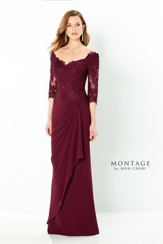 Montage Style 220942. Description: Three quarter sleeve off the shoulder chiffon and lace fit and flare gown with a soft v-neckline, drop waist with a cascading detail, soft v-back, a sweep train and crystal accents . Details: Length: Long;Fabric: Chiffon, Lace, Stone Accents;Silhouette: Fit and Flare;Neckline: Off the Shoulder;Collection: Spring 2021;Brand: Montage;Waistline: Drop Waist Pageant Dresses, Modest Dresses, Homecoming Dresses, Formal Dresses, Mob Dresses, Formal Wear, Wedding Dresses, Gown Wedding, Lace Wedding