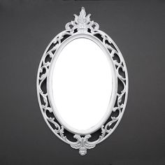 Ornate Oval Vintage Mirror - Distressed White, Shabby Chic decor