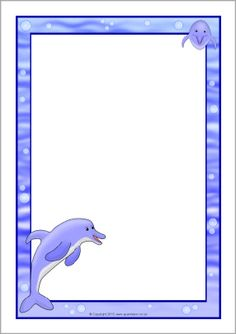 Dolphin Page Borders - SparkleBox Borders For Paper, Borders And Frames, Kindergarten Art, Preschool, Boarders For Bulletin Boards, Page Borders, Dolphins, Free Printables, Stationery