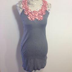 Twelve by Twelve Gray Tank Dress M Cute thin tank dress with pink ribbon flowers. Twelve by twelve Dresses