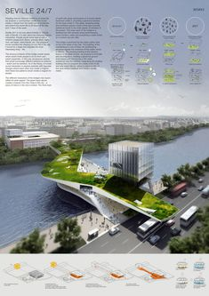 Winners of the Links: Bridging Rivers Competition Second Place - Seville: Airat Khusnutdinov, Zhang Liheng (Russia) Architecture Panel, Landscape Architecture Design, Architecture Graphics, Green Architecture, Concept Architecture, Architecture Diagrams, Chinese Architecture, Architecture Presentation Board, Presentation Layout
