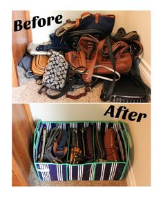 Before and After for purse organization bedroom Organization & Storage Solution For Purses Home Organization Hacks, Purse Organization, Tank Top Organization, Shoe Organizer, Bedroom Organization, Bedroom Storage, Organizing Ideas, Kitchen Organization, Organizing Purses In Closet
