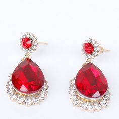 Pair of Vintage Faux Ruby Water Drop Earrings #men, #hats, #watches, #belts, #fashion, #style