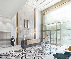 pin : sosestudio Modern Office Design, Office Interior Design, Office Interiors, Hotel Lobby Design, Reception Desk Design, Hotel Reception, W Hotel, Plywood Furniture, Lounge