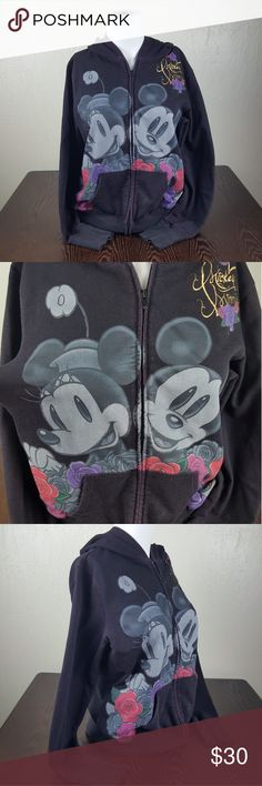 Mickey & Minnie Walt Disney World Zip Up Sweater Minnie & Mickey Walt Disney World Zip Up Sweater  Walt Disney World / Disneyland Resort  Mickey & Minnie Mouse Zip Up Hoodie  Size - Large  Great Condition  No rips or staining  Deep Purple/Black Color  Adorable floral print around mickey & minnie in love! Disney Tops Sweatshirts & Hoodies