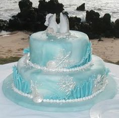 Blue Wedding Cake with Dolphins and Sea Shells