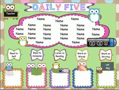 Daily Five Owl Themed Rotation for SMARTBoard |