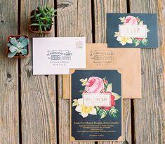 Black + floral wedding invitations