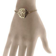 1 inch, Solid 14k Gold Script Initial Lace Monogram Bracelet