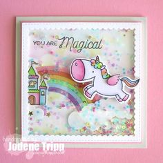 Birdie Brown Magical Unicorns stamp set and Die-namics, Stitched Mini Scallop Square STAX and Rainbow Die-namics - Jolene Tripp #mftstamps