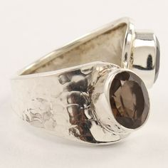 two-stone open front ring size US 9 pure 925 sterling silver smoky quartz gems #Unbranded Smoky Quartz Ring, Gems, Wedding Rings, Pure Products, Engagement Rings, Sterling Silver, Stone, Ebay, Jewelry