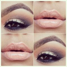 Nude lip and gold smokey eye